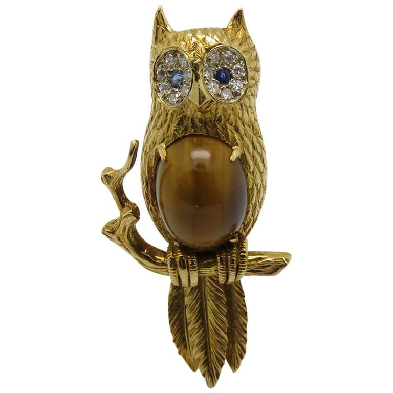 1970s Hermes Paris Tiger's Eye,Diamond,sapphire and Gold Brooch