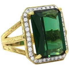 Fancy Emerald Cut Green Tourmaline and Pavé Diamond Ring