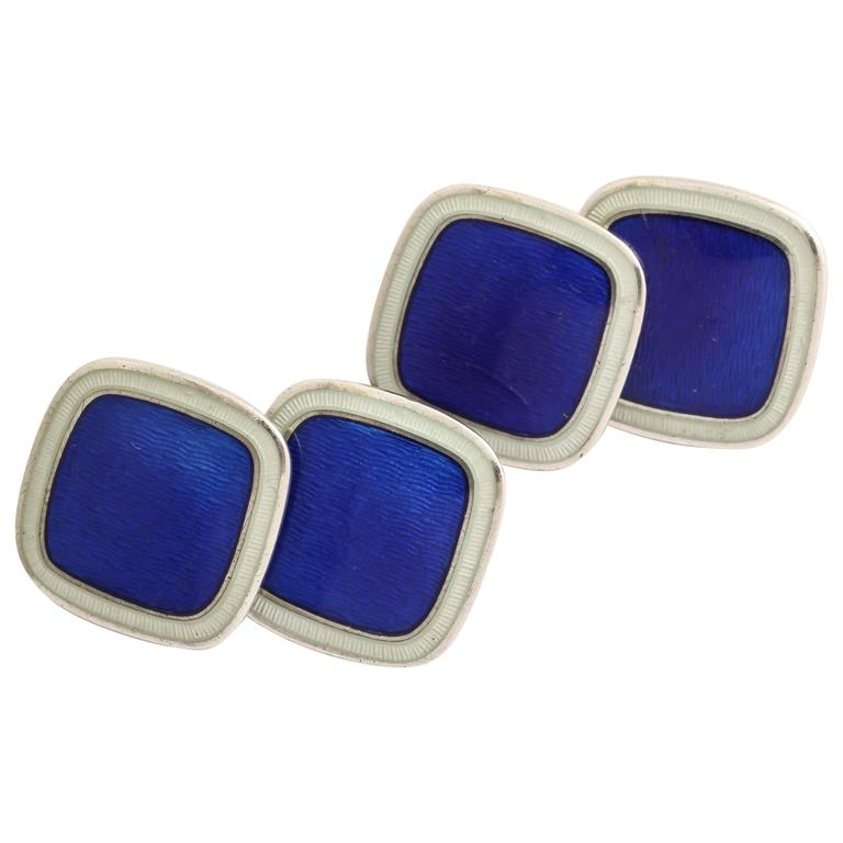 American Art Deco Sterling Silver and Guilloche Enamel Cufflinks For Sale