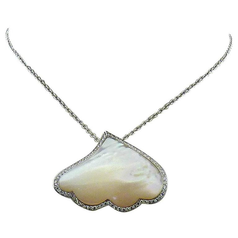 AMBROSI Mother of Pearl & Diamond 18k White Gold Chain Necklace,  MSRP $4,700