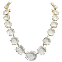 New H. Stern Moonlight Quartz Diamond Gold Necklace