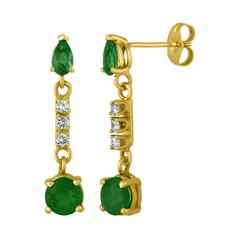 1.25 Carats Emerald And Diamond Gold Drop Earrings