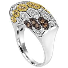 0.96 Carat Diamond Modern Dome Gold Ring