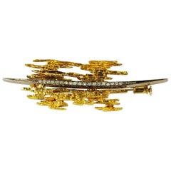 18 Karat Gold Diamond Brooch Pin Brutalist Modernist Grima Style