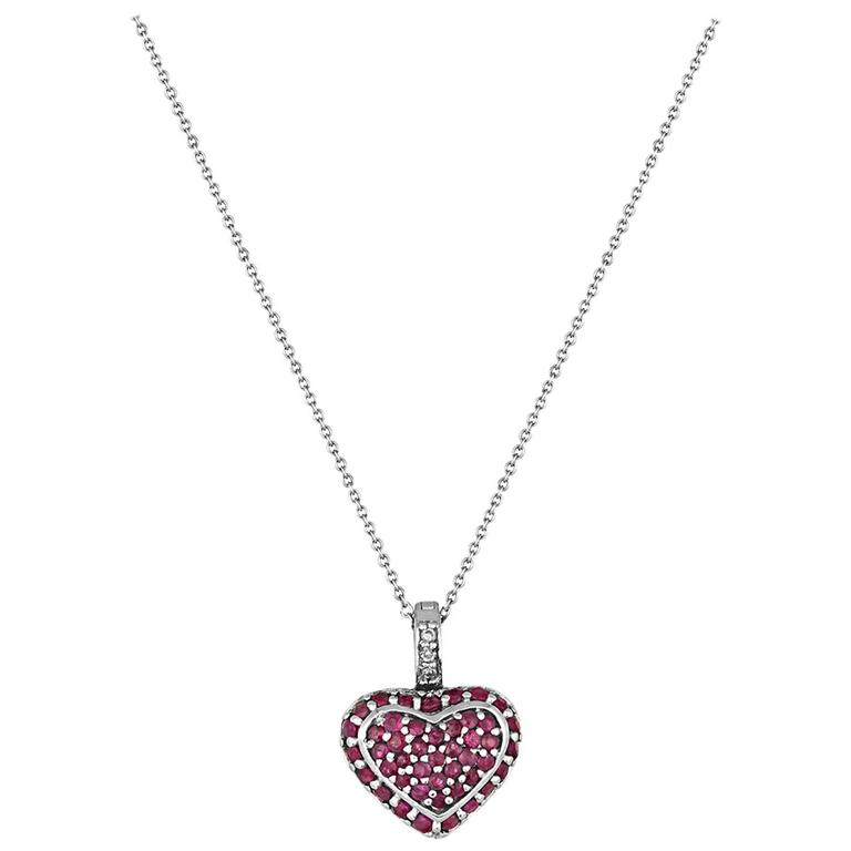 1.25 Carats Ruby And Diamond Gold Heart Pendant Necklace For Sale