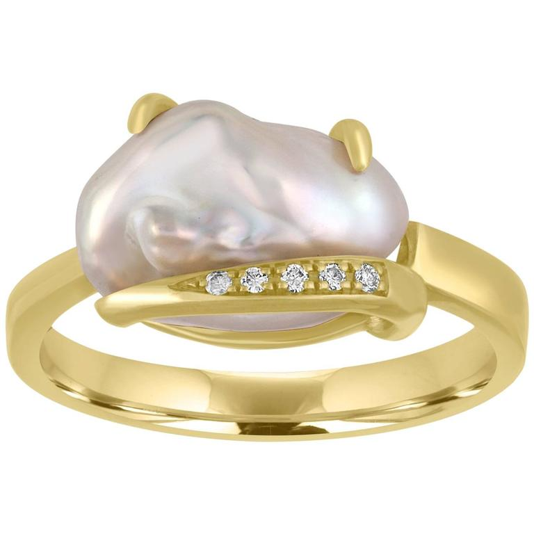 Diamond And Freshwater Cultured Baroque Pearl Gold Ring