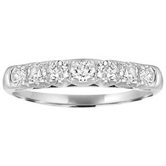 0.80 Carats Diamond Platinum Seven Stone Half Band Ring