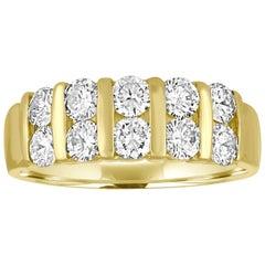 1.50 Carats Diamond Two Row Gold Half Band Ring