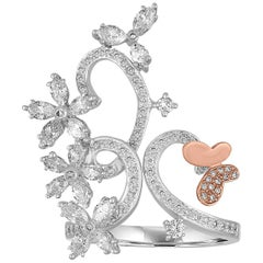 1.00 Carats Diamond Gold Flower Branch Ring