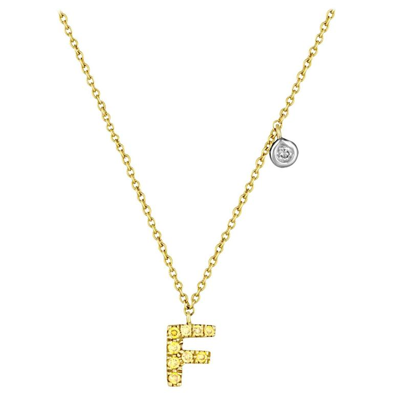 "Initial Letter ""F"" Diamond Gold Pendant Charm Necklace"