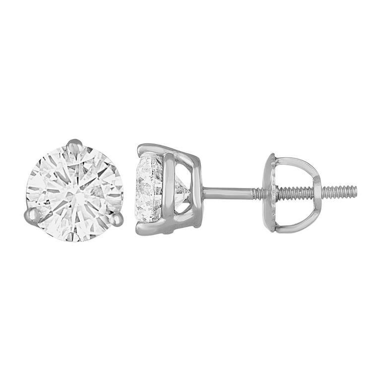 2.05 Carat G I1 Round Diamonds Platinum Stud Earrings
