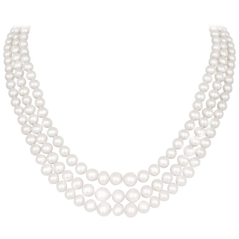 3 Strand Graduating Fresh Water Cultured Pearl Gold Necklace