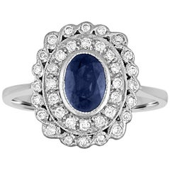 1.26 Carats Blue Sapphire Diamond Gold Ring