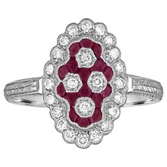 0.80 Carats Ruby Diamond Gold Ring