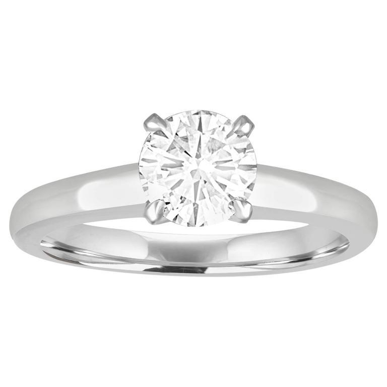 GIA Certified 1.03 Carat F VVS2 Round Diamond Platinum Engagement Ring 1
