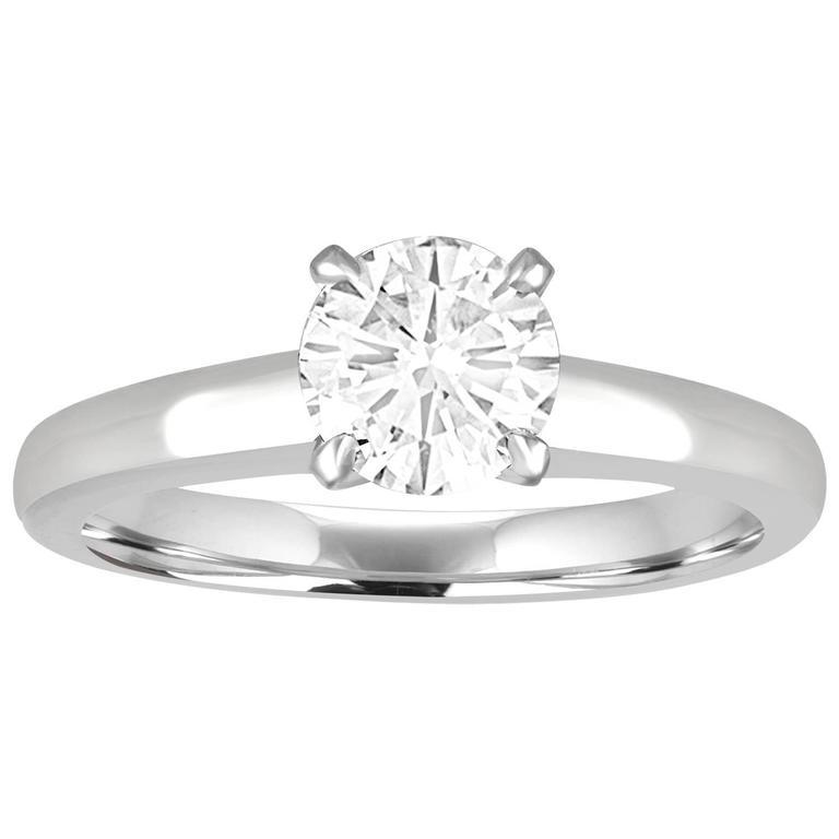 GIA Certified 1.03 Carat D IF Round Diamond Platinum Engagement Ring 1