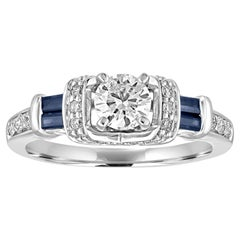 0.46 Carats Diamond And Sapphire Gold Engagement Ring
