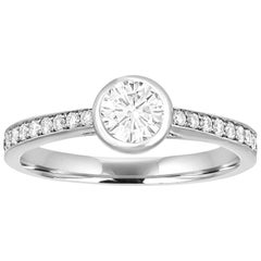 0.53 Carats Diamond Bezel Gold Engagement Ring