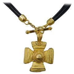 Denise Roberge 22 Karat Yellow Gold Cross Necklace