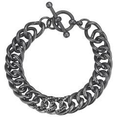 Naomi Sarna Black Diamond Sterling Silver Link Bracelet