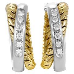 Pomellato Diamond Multi-Tone Gold Crossover Hoop Earrings