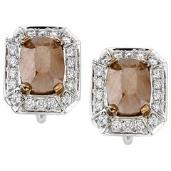 White Gold Emerald Cut Rough Diamond Studs