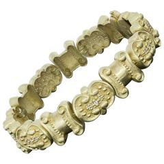 Vintage Style Yellow Gold Diamond Scroll Design Matte Finish Link Bracelet