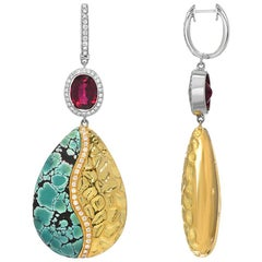 Turquoise Rubelite Tourmaline Diamond Gold Drop Earrings