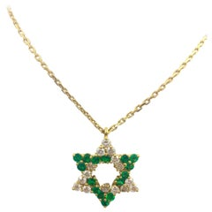 Star of David Emerald Diamond Gold Necklace