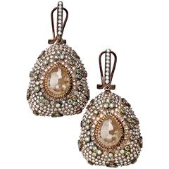 Dangling Rose Gold Teardrop Rough Brown Diamond Gold Earrings