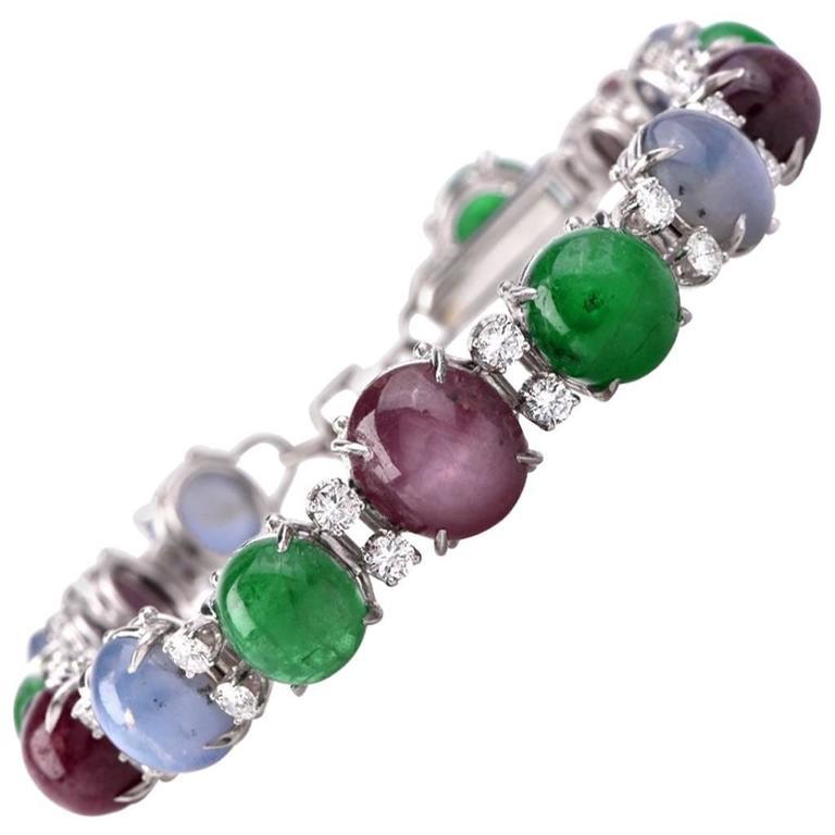 CErtified GIA Star Sapphire Ruby Emerald Diamond Platinum Bracelet