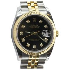 Rolex Yellow Gold Stainless Steel Diamond Oyster Perpetual Automatic Wristwatch