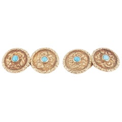 Carved Gold Floral Design Cufflinks with Turquoise Centre, English circa 1840