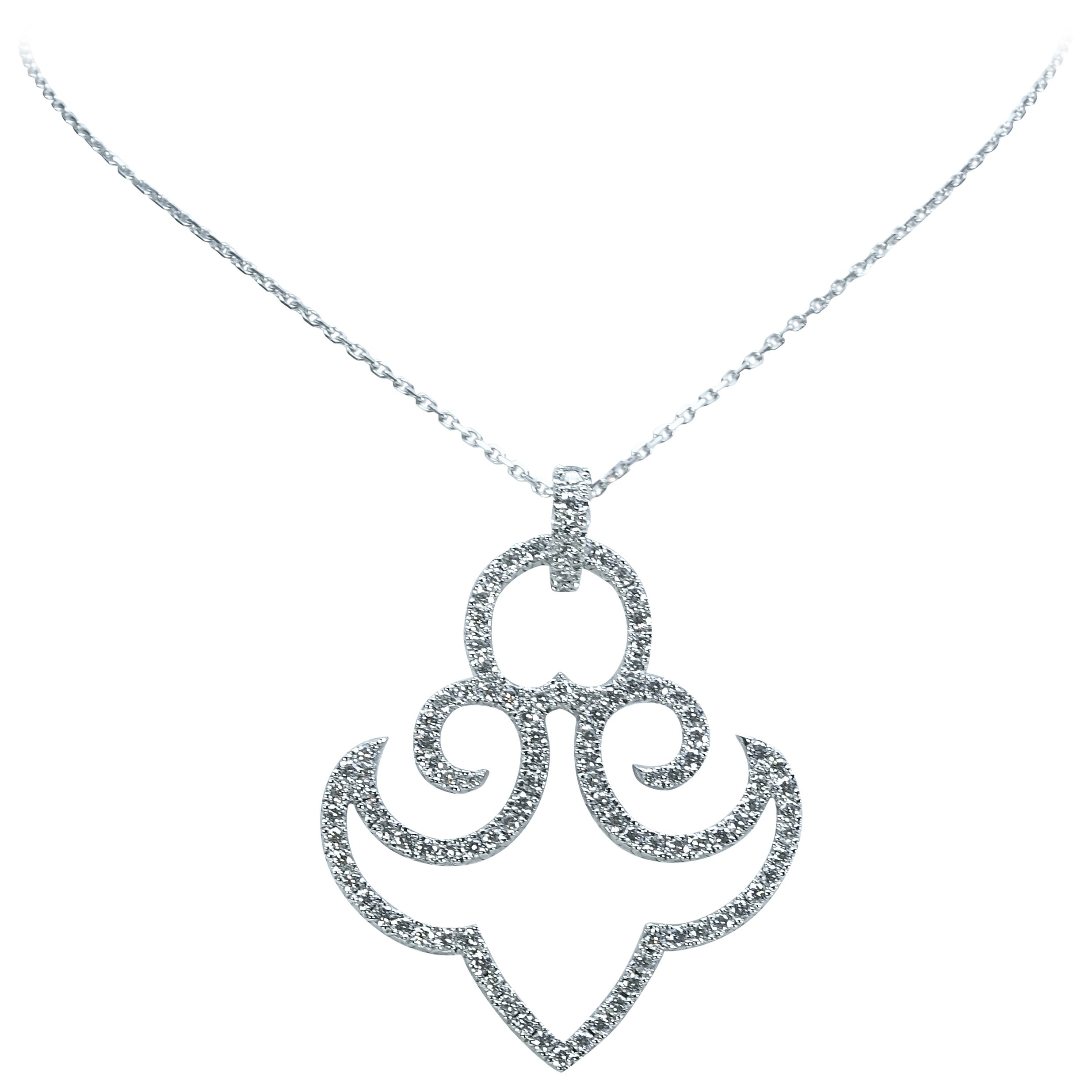 18K White Gold Chain Necklace With Diamond and 18K White Gold Anchor Pendant