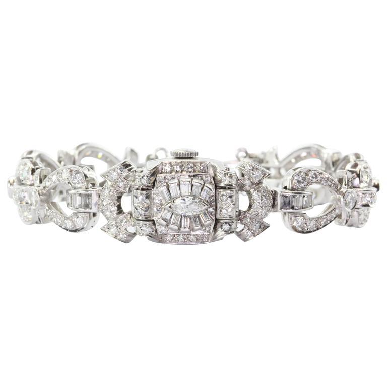 Hamilton Ladies Art Deco Platinum Diamond Bracelet Wristwatch 1