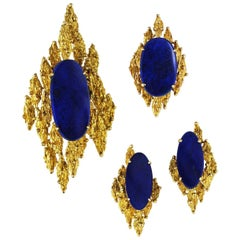 Modernist Abstract Lapis Ring Pendant Earrings Set, 14K Gold Vintage