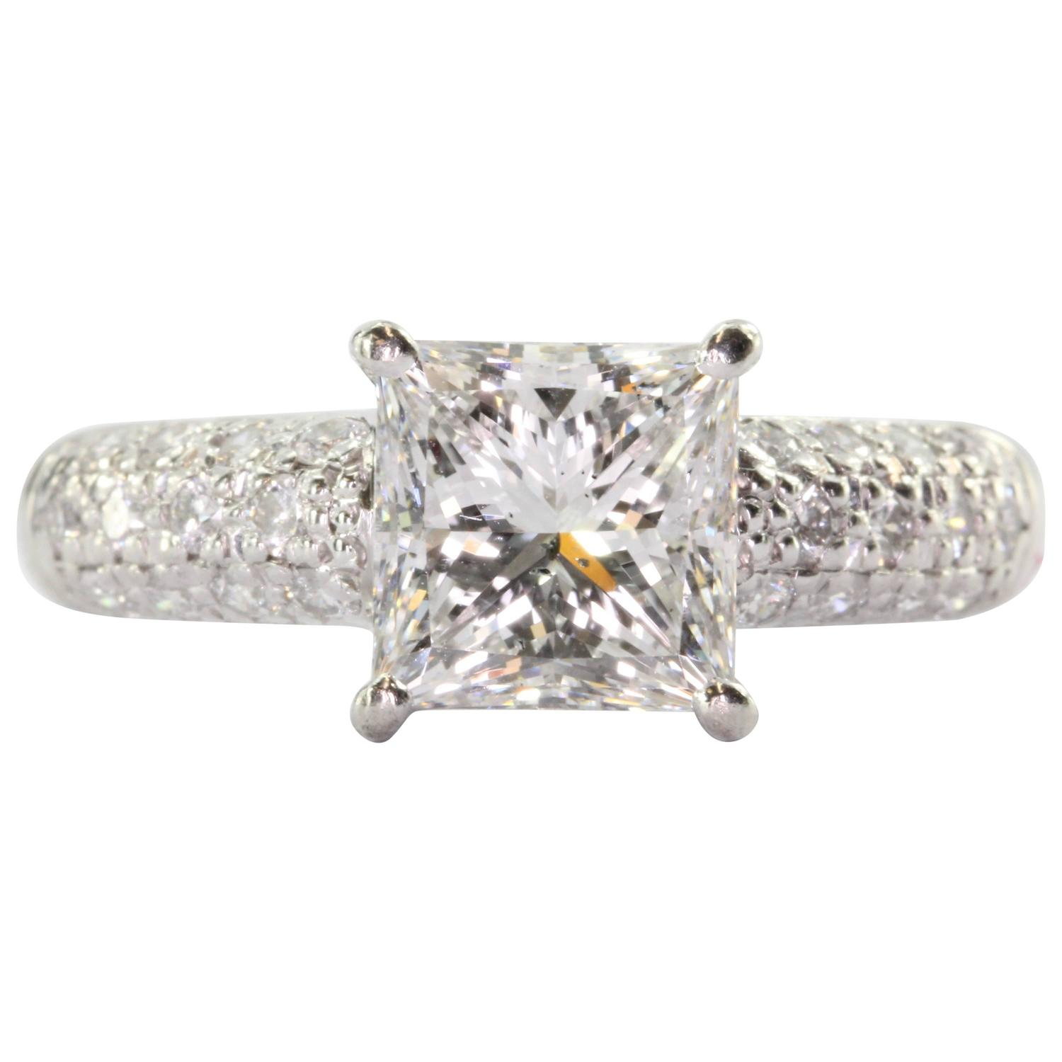 2 43 Carat Square Brilliant Cut Diamond Platinum Engagement Ring For Sale at