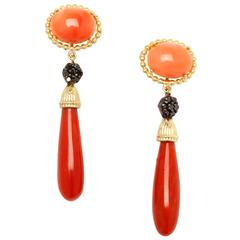 Stambolian Coral Black Diamond Gold Earrings