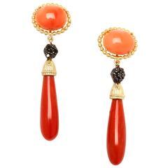 Stambolian Coral Black Diamond Gold Earrings