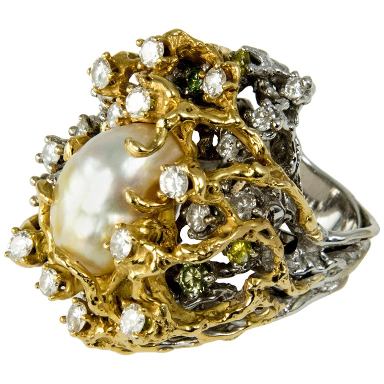 1970s Arthur King, South Sea Pearl, Diamond and Gold Cocktail Ring