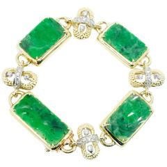 1950s Natural GIA Certified Carved Jadeite Jade Diamond Two Color Gold Bracelet