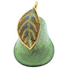 Judith Leiber Forelle Pear Swarovski Crystal Green Jeweled Evening Bag