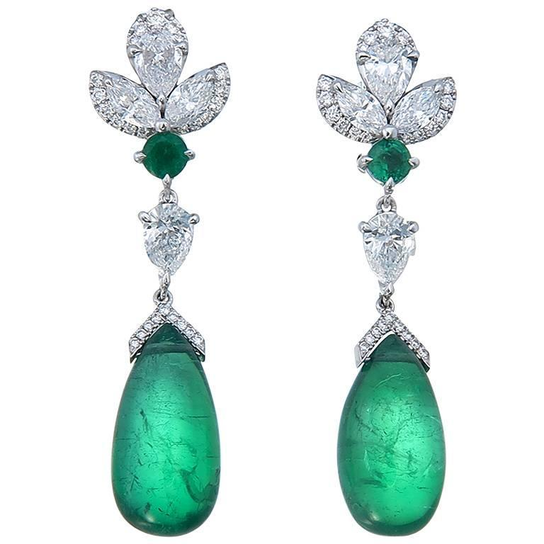 10 52 Carats Emeralds Diamonds Gold Dangle Earrings For Sale at 1stdibs
