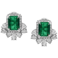 9.83ct carat Emerald Diamond Earrings