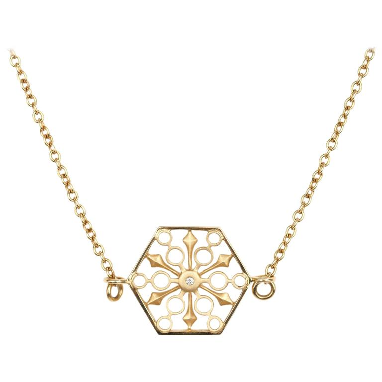 Snowflakes Power Gold Necklace