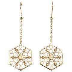 Snowflakes Power Gold Earrings