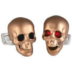 Deakin & Francis Gold Satin Finish Skull Cufflinks with LED Eyes