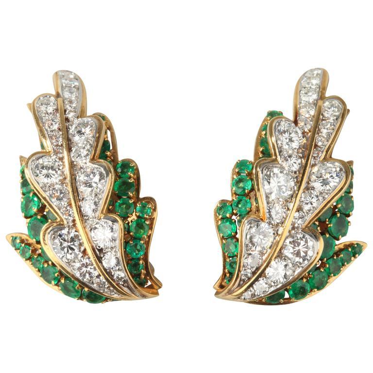 Van Cleef & Arpels Emerald Diamond Gold Leaf Earrings