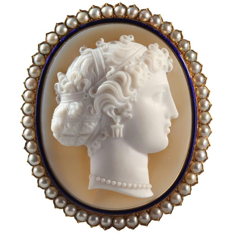 Antique French Agate Cameo Pearl Brooch
