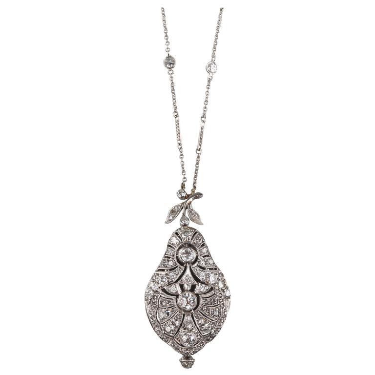1900s Ladies Platinum White Gold Diamond Pear Shaped Pendant Watch